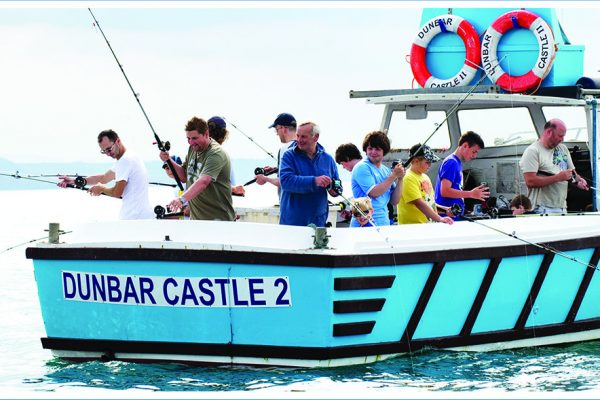Anglers on Dunbar Castle Boat